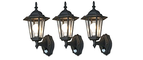 Stylish 6-Panel Wall Lantern System W/IR Motion Sensor + Time/Lux Control (Pack of - Classic Light Incandescent Six
