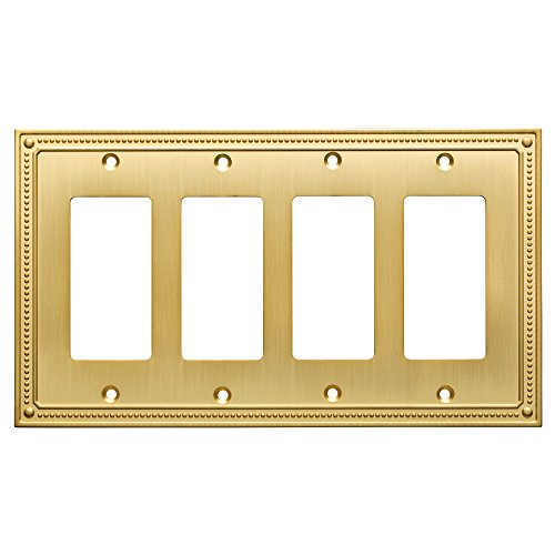 Franklin Brass W35069-BB-C Classic Beaded Quad Decorator/Switch Plate/Cover, Brushed Brass, Polished Brass ()
