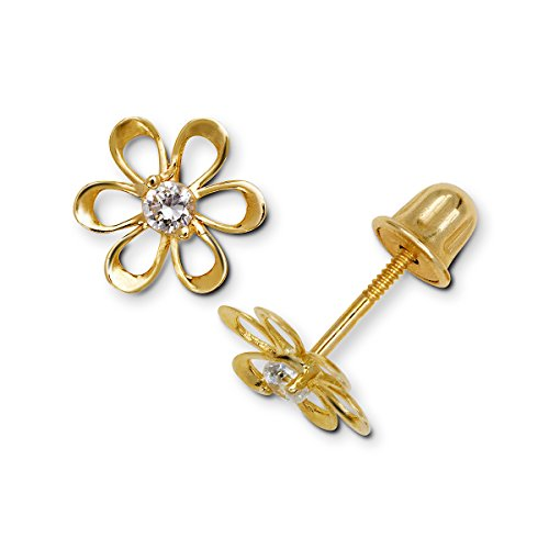 Jewelryweb 14k Yellow or White Gold Cubic Zirconia CZ Small Open Daisy Flower Screw-Back Earrings (8mm) - Earrings Gold Flower Birthstone 10k