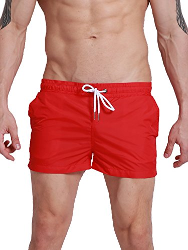 Neleus Mens Athletic Beach Shorts with Pockets,801,Red,USA M,Asia Tag XL
