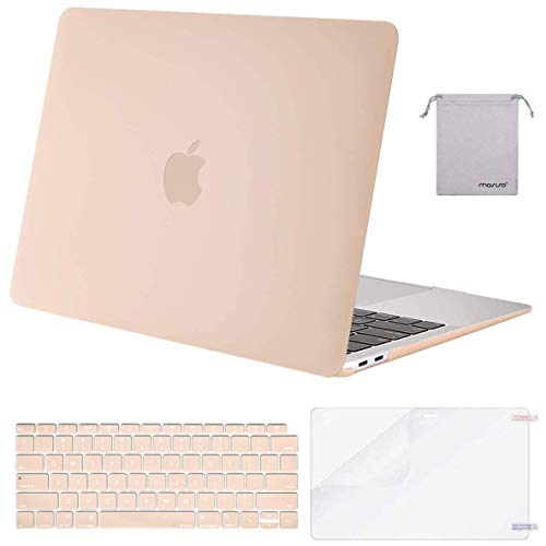 MOSISO MacBook Air 13 inch Case 2020 2019 2018 Release A2179 A1932 with Retina Display, Plastic Hard Shell&Keyboard Cover&Screen Protector&Storage Bag Compatible with MacBook Air 13, Camel