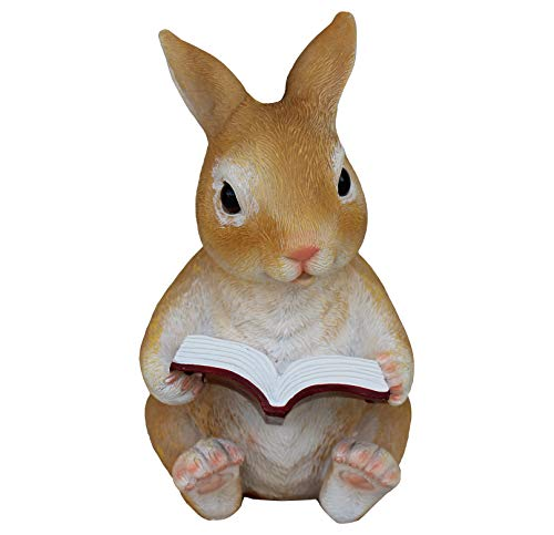 TABOR TOOLS Rabbit Reading Book Ornament, Terrace Figurine, Miniature Statue, Cute Patio Bunny Figure, Outdoor Decor, Sculpture for Your Garden, Home or Office. DM424A. (Rabbit Reading Book)