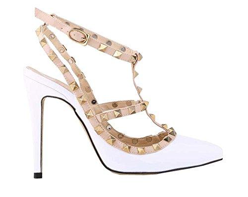 Mode sexy Nieten hochhackigen Sandalen Damen Schuhe Weiß