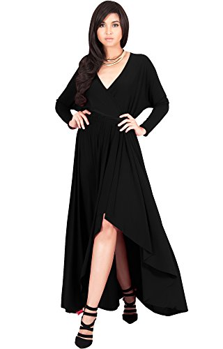 (KOH KOH Womens Long Sleeve Sleeves Wrap Slit Split Formal Fall Winter Cocktail Sexy Flowy Evening Day Abaya Gown Gowns Maxi Dress Dresses, Black M 8-10)