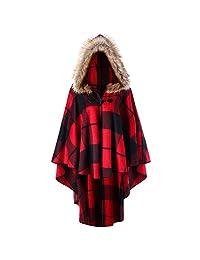 DEZZAL Women's Plus Size Classic Plaid High Low Faux Fur Hooded Cape Cloak