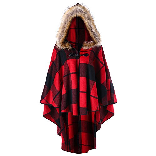 DEZZAL Women's Plus Size Classic Plaid High Low Faux Fur Hooded Cape Cloak (Red Plaid, XL) - Classic Hooded Hat