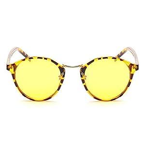 LOMOL Unisex Fashion Retro Round Radiation protection Night Vision Anti-Blue Goggles Sunglasses(C4)