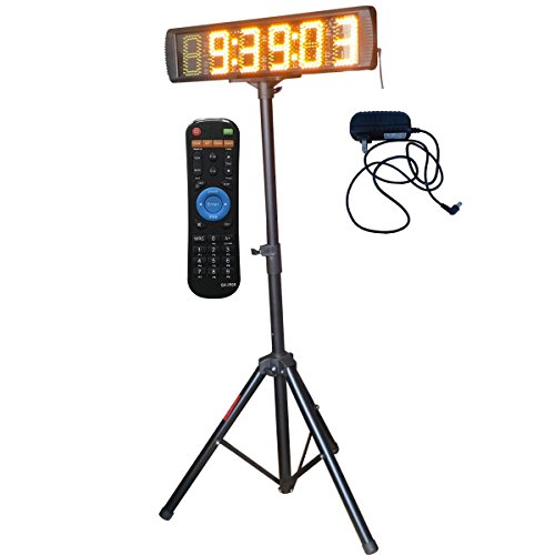 Single Sided Yellow Color LED Race Timing Clock with Tripod 5'' High Character for Semi-Outdoor / Outdoor Running Events IR Remote Control by Ledgital