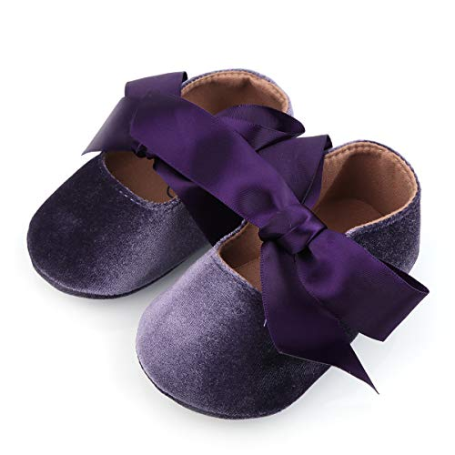 BubbleColor Baby Girls Princess Shoes Newborn Infant Toddler Bow Mary Jane Prewalker Dress Crib Shoes (L:12-18 Months/5.12