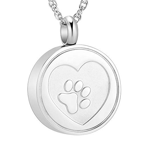 - shajwo Pet Cremation Urn Necklace for Ashes Stainless Steel Dog Cat Paw Print in Heart Locket Ash Keepsake Memorial Ash Jewelry Urn Jewelry for Pet Ashes