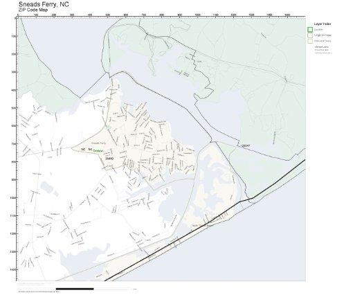 Amazon Com Zip Code Wall Map Of Sneads Ferry Nc Zip Code Map Not