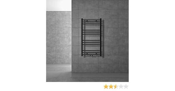 antracita radiador toallero agua calefaccion curvado ECD Germany Radiador de toallas Sahara con conexi/ón central 400 x 1200 mm