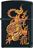 Zippo Lighter - Oriental Orange Dragon 7364, Black Matte
