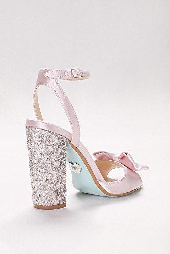 Davids Nuziale In Raso Bow-front Pumps Con Glitter Blush Stile Tallone Sblyla Arrossire