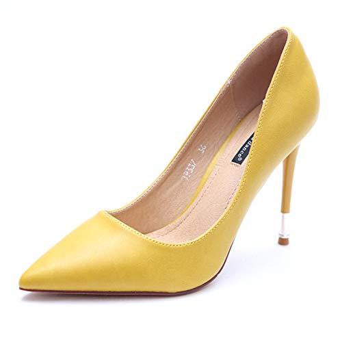 HOESCZS Candy Farbe Damenschuhe Damenschuhe Damenschuhe 2019 Frühjahr und Herbst Neue Spitze Schuhe einfache Stiletto Heels Mode einzelne Schuhe weiblich gelb 46167f