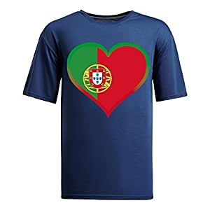Brasil 2014 FIFA World Cup Mens Football Background Short Sleeve Cotton T-shirt for Fans navy
