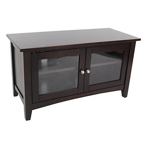 Alaterre Shaker Cottage 36-inch TV Stand with 2 Glass Doors, Espresso (Glass Tv Stand With Doors)