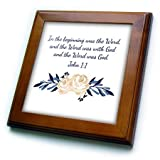 3dRose TNMGraphics Scripture - Scripture John 1 In the Beginning Was the Word - 8x8 Framed Tile (ft_280640_1)