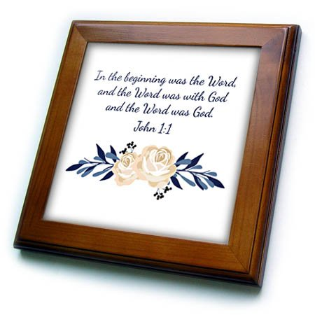 3dRose TNMGraphics Scripture - Scripture John 1 In the Beginning Was the Word - 8x8 Framed Tile (ft_280640_1) by 3dRose