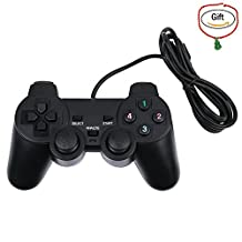 Baigeda Game Controller for Computer USB 2.0 Wired Dual Shock Gamepad Laptop Game Accessories D-Input Joypad for PC Game Hardware Plug and Play Digital/ Analog Joystick Windows XP/ 7/ 8/ 10 Black