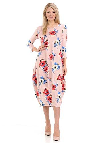 Pastel by Vivienne Women's Cocoon Midi Dress Large Floral Blush Coral