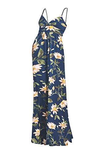 Beachcoco Women's Maternity Sweetheart Party Maxi Dress (XS, Navy/Khaki Flower)