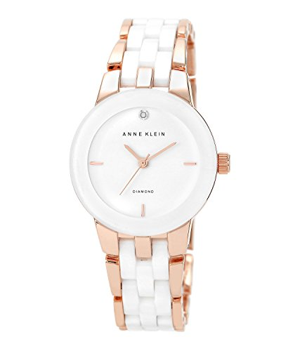 Gold Tone White Dial - Anne Klein Women's AK/1610WTRG Diamond Dial Rose Gold-Tone and White Ceramic Bracelet Watch
