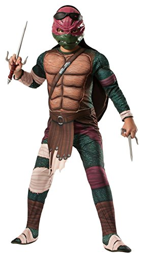 Rubies Teenage Mutant Ninja Turtles Deluxe Muscle-Chest Raphael Costume, Child (Ninja Turtle Costume Shell)