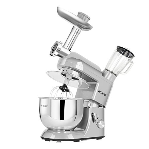CHEFTRONIC Stand Mixer Tilt-Head 120V/650W Electric Stand Mixer 5.5QT Stainless Bowl, 6 Speed Multifunctional Kitchen Mixer, Meat grinder, Sausage stuffer, pasta dies Juice Blender …