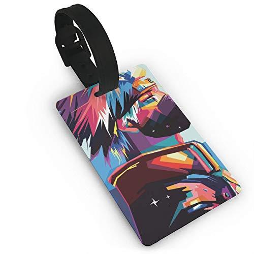 SWDFFG Luggage ID Tags- Stylish Naruto Kakashi Print PVC Suitcase Bag Labels Travel Accessory ()