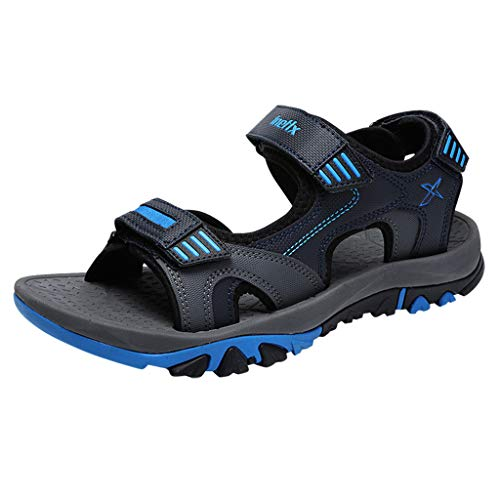 Seaintheson Fashion Men's Hiking Sandals, Summer Outdoor Adjustable Open Toe Non-Slip Sandals Comfortable Hiking Outdoor Sandals Blue