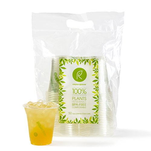 Repurpose 100% Compostable Plant-Based Clear Cold Cup | 12 Ounce Party Cups | 50 Cups