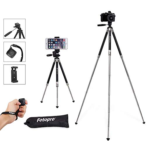 Fotopro iPhone Tripod, 39.5 Inch Aluminum Camera Tripod with Bluetooth Remote Control and Bag for iPhone 8/Plus,Samsung, Huawei,Gopro 6/5/4,Nikon,Canon ()