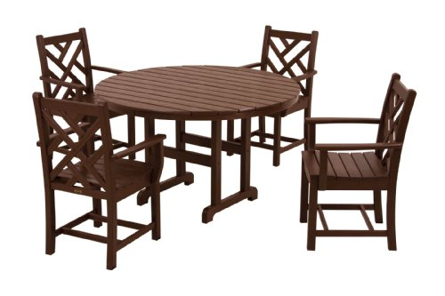 picture of POLYWOOD PWS122-1-MA Chippendale 5-Piece Dining Set, Mahogany