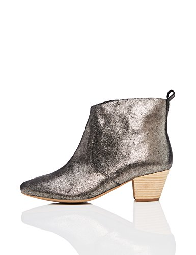 FIND Leather Western Ankle Boot Grey (Dusted Metallic)
