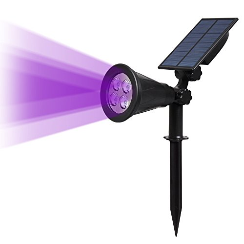 T-SUN 4 LED Solar Spotlights, IP65 Waterproof Auto Turn ON/Off 180° Angle Adjustable Security Landscape Lights for Garden, Yard, Driveway, Pool Area(Purple-1 Pack)