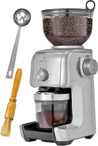 ChefWave Conical Burr Coffee Grinder – 16 Grind Settings Electric Coffee Bean Grinder – Die Cast Aluminum Housing…