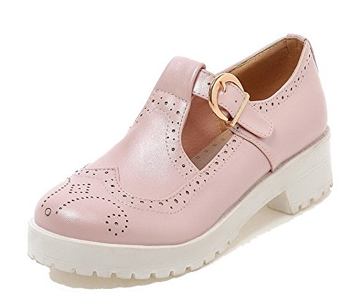 Material Heels Women's Shoes WeenFashion Kitten Court Round Pink Pull Soft On Toe axIwgw