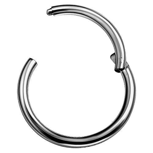 Titanium 14 Gauge 1/2 12mm Segmented Nose Ring Piercing Jewelry Nose Cartilage Septum Helix Tragus M5126 ()