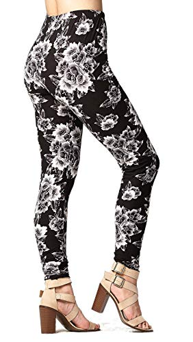 Buttery-Soft Printed Leggings for Women 100+ Prints and Solids in Regular and Plus Size - Monochrome Rosette - One Size (0-12)