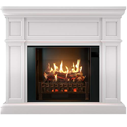 MagikFlame Electric Fireplace and Mantel - Artemis White Electric Fireplaces with Heater - Large, White Electric Fireplace Heater - 26 Realistic Flame Aesthetics, Crackling Log Sounds For Living Space
