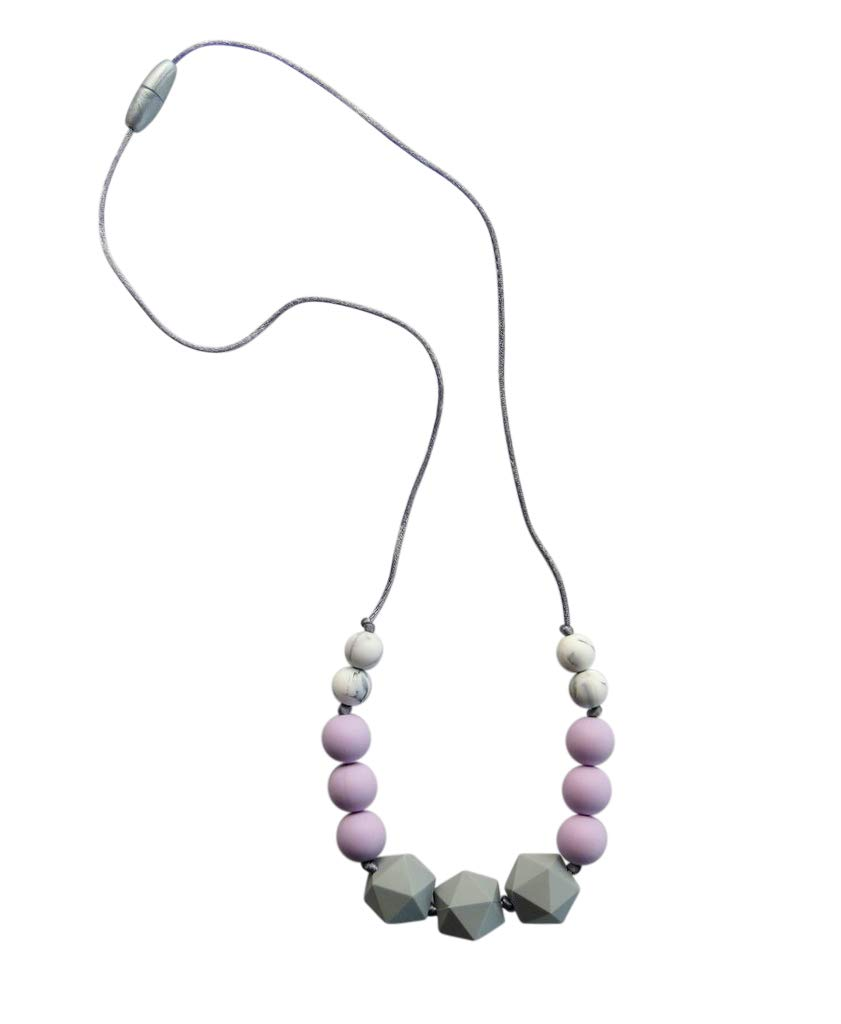 Teething Necklace for Baby Teething Relief Made with Food Grade Silicone Beads, Teether is BPA Free by Tiny Teethers - Zinnia Collection: Lavender