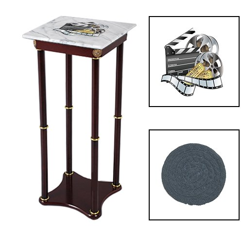 Square White Marble Top Accent Table Featuring the Choice of Your Favorite Novelty Themed Logo on the Top Shelf! FREE Coaster Included! (Movie Reel)