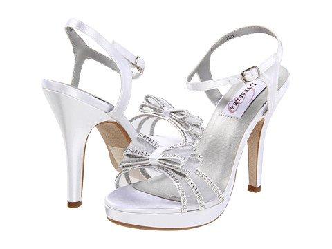 - Dyeables Pippa Platform Sandal, White Satin, Size 7.5