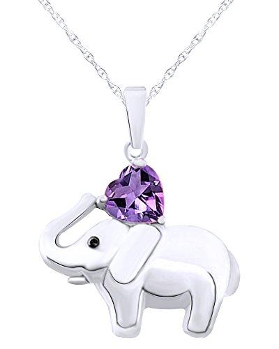 (Wishrocks 14K White Gold Over Sterling Silver Elephant Pendant Necklace)