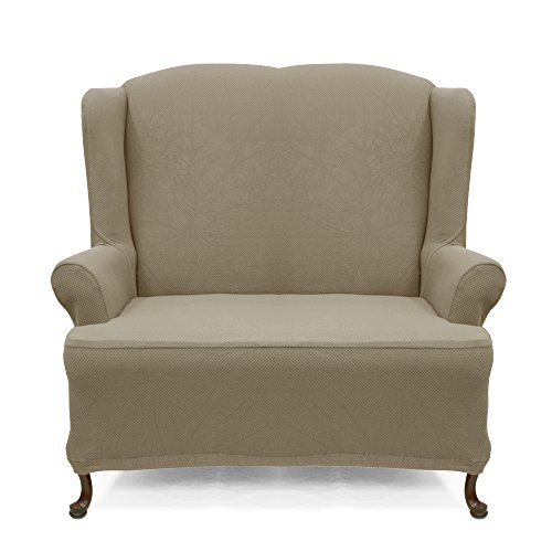 Wing Loveseat Slipcover Stretch Pique Medium Taupe 706