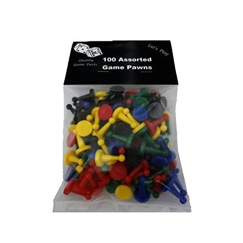 100 Assorted Game Pawns - 5 Colors - 20 of Each Color