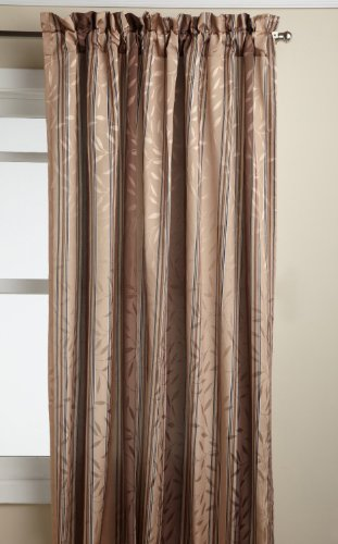 Shiny Brown Stripe (Lorraine Home Fashions Whitfield Stripe 52-inch x 63-inch Panel, Chocolate)