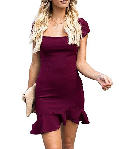 Mini Neck Square - Womens Bodycon Mini Party Dresses Sexy Square Neck Ruffle Hem Short Sleeve Elegant Evening Dress Purple, Small