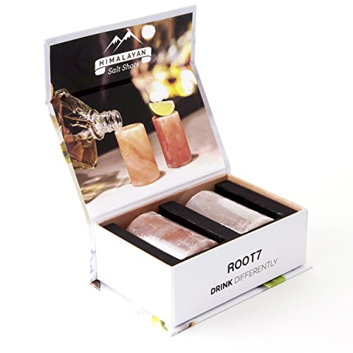 Himalayan Salt Shot Glasses 2 pack from Root7. Salt Shot Tequila Glasses. FDA Approved Ethically Sourced Natural Himalayan Salt. Presented in Presentation Box.